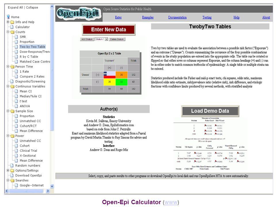 Open-Epi Calculator (www)