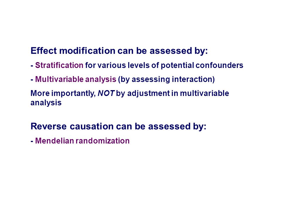 Effect modification can be assessed by: