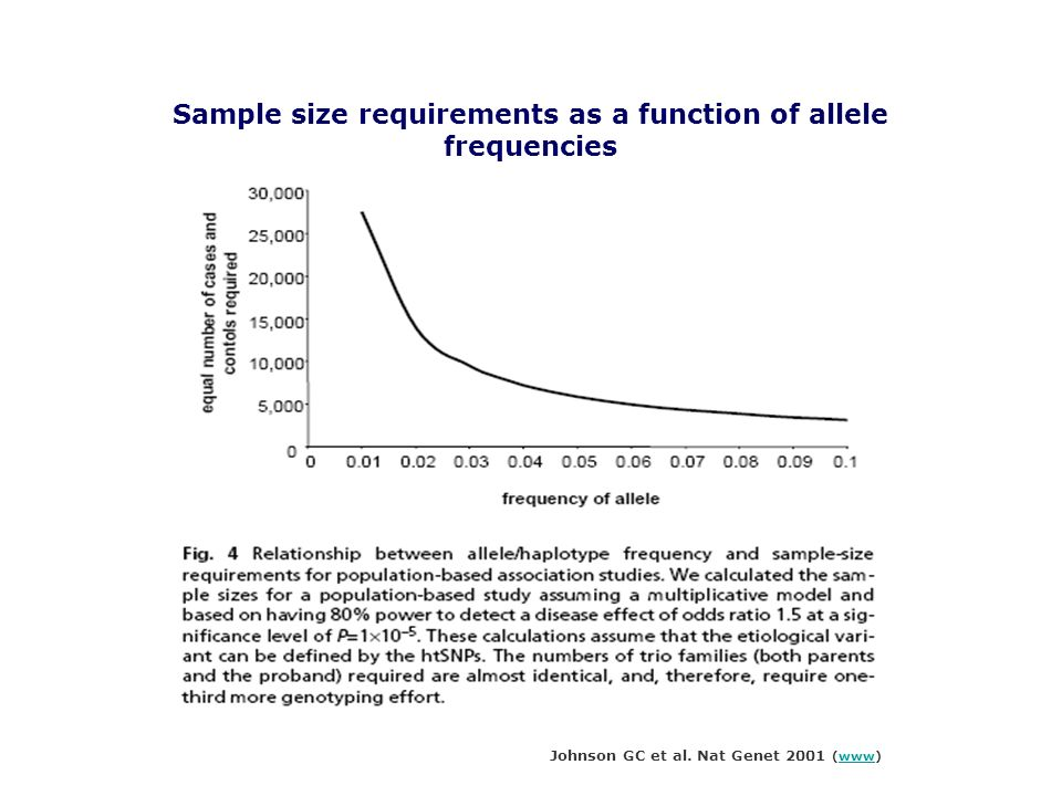 Sample size requirements as a function of allele frequencies