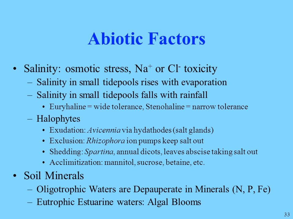 Abiotic Factors Salinity: osmotic stress, Na+ or Cl- toxicity