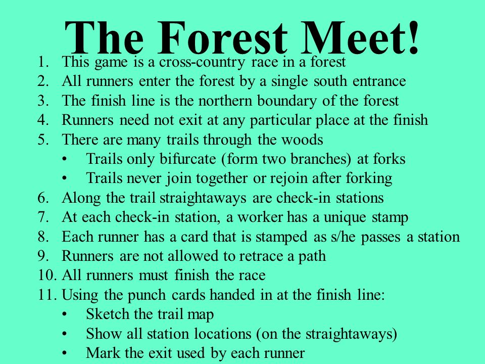 The Forest Meet! This game is a cross-country race in a forest