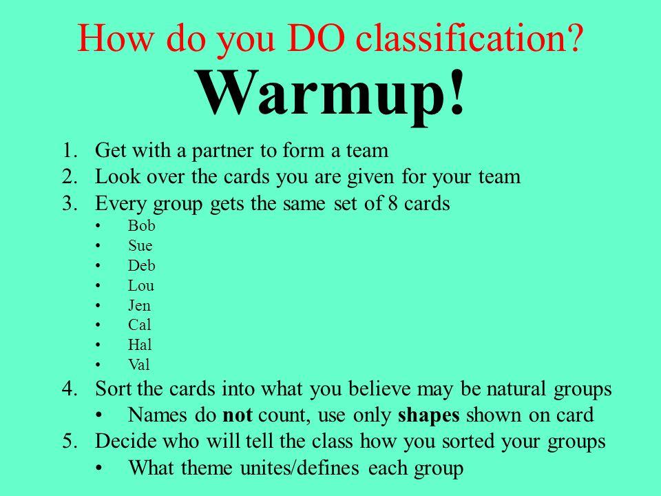 How do you DO classification