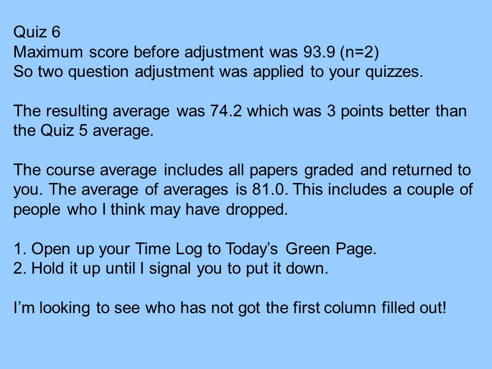 Quiz 6 Maximum score before adjustment was 93.9 (n=2) So two question adjustment was applied to your quizzes.