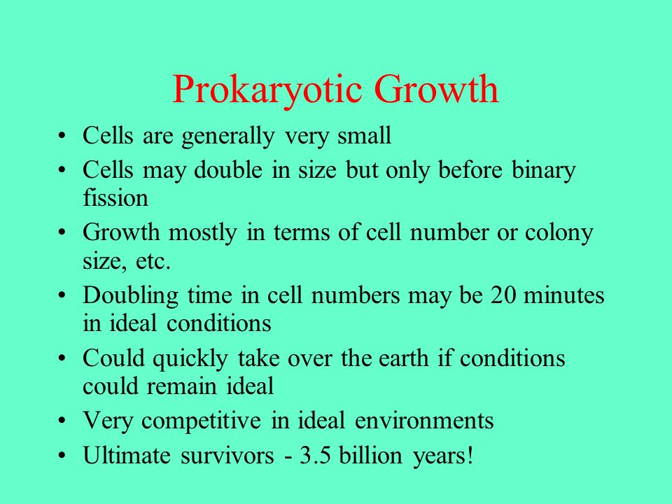 Prokaryotic Growth Cells are generally very small