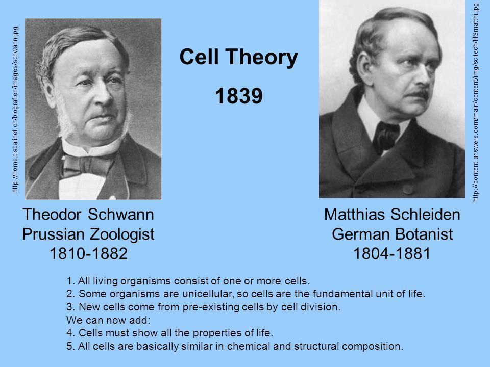 Cell Theory 1839 Theodor Schwann Prussian Zoologist 1810-1882