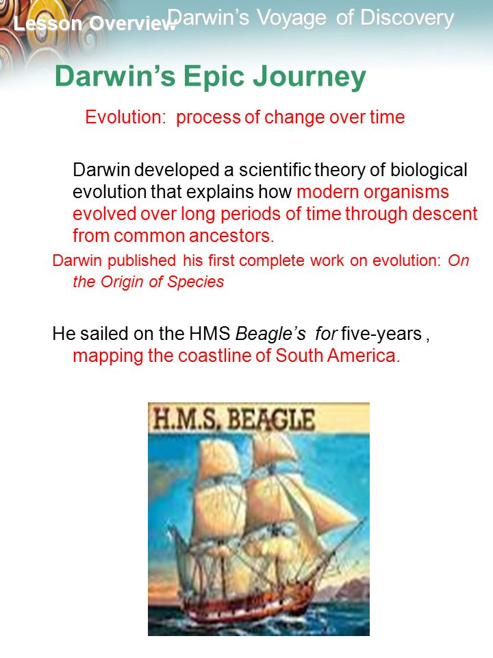 Darwin's Epic Journey Evolution: process of change over time.