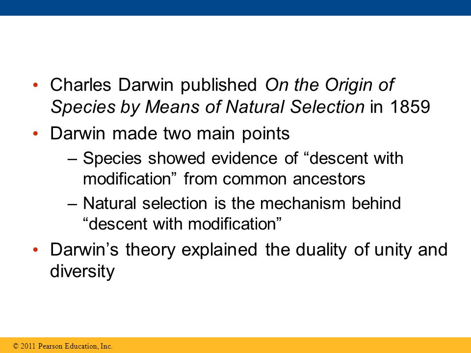 Darwin made two main points
