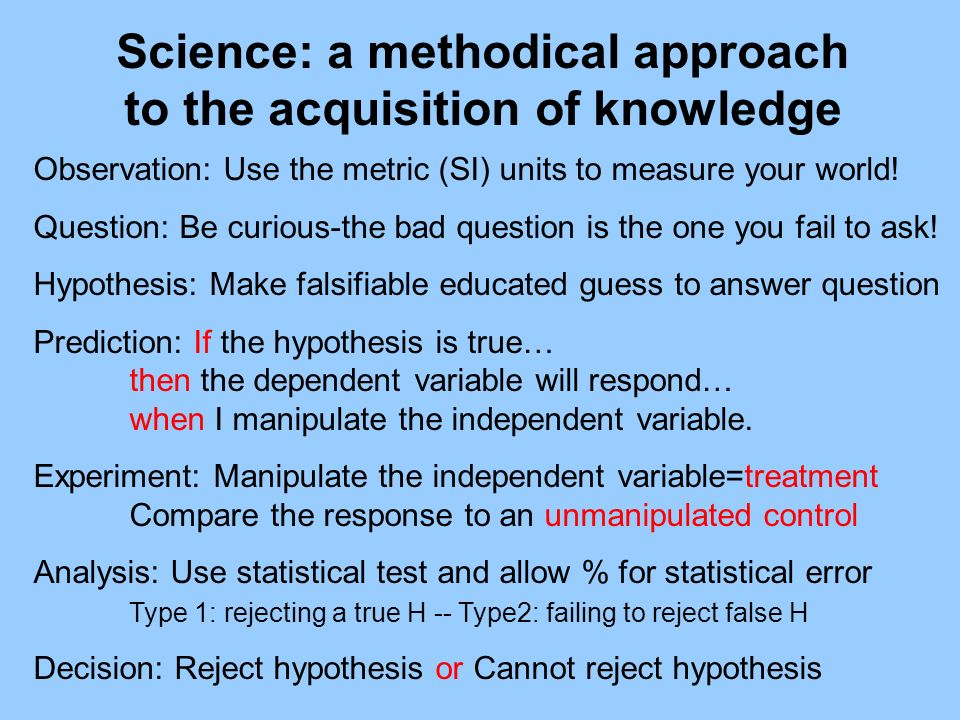 Science: a methodical approach to the acquisition of knowledge