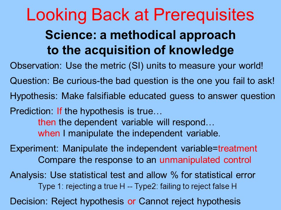 Looking Back at Prerequisites