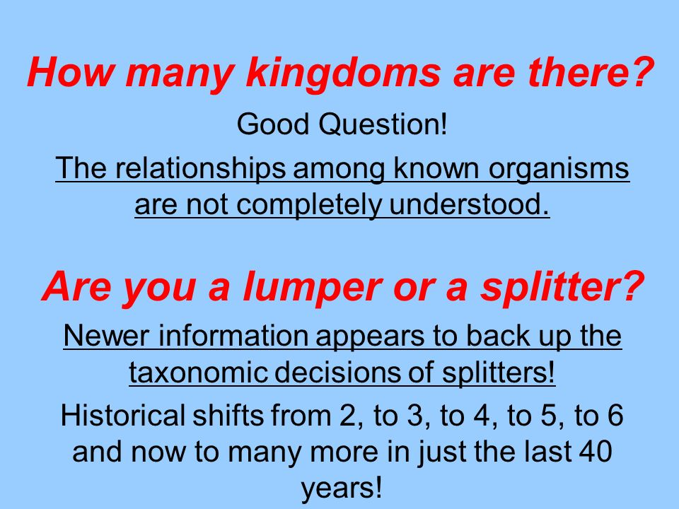 How many kingdoms are there