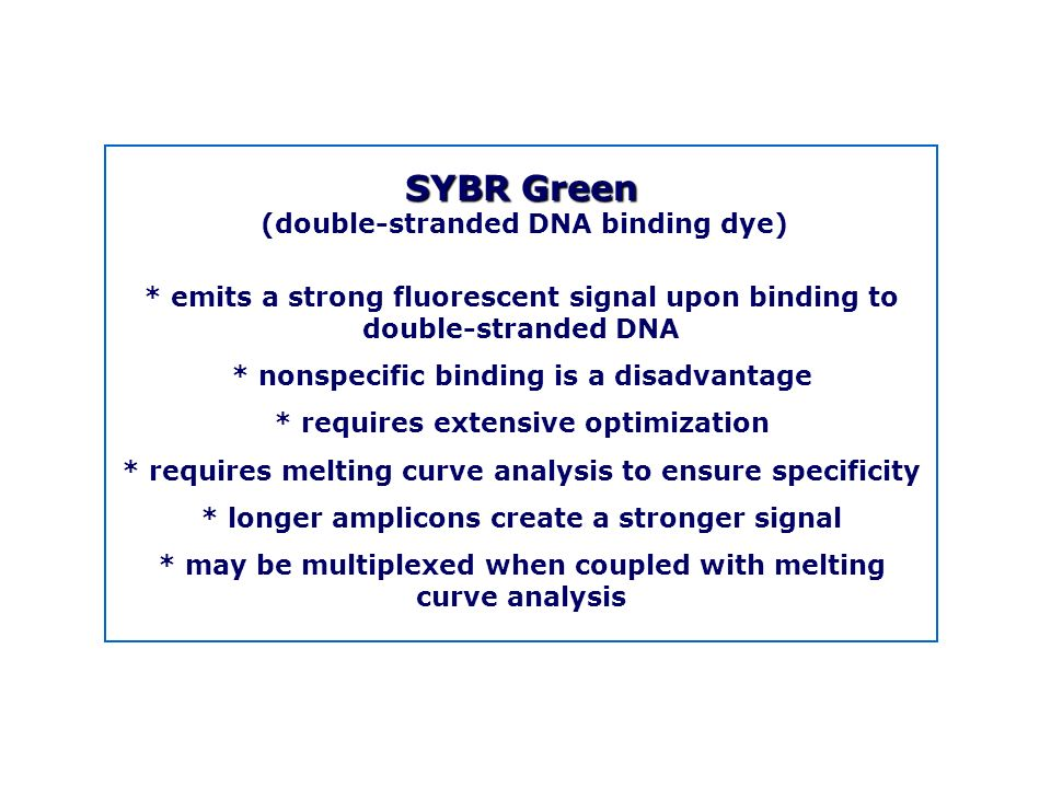 SYBR Green (double-stranded DNA binding dye) * emits a strong fluorescent signal upon binding to double-stranded DNA.
