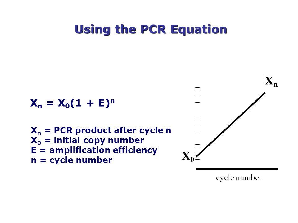 Using the PCR Equation Xn X0 Xn = X0(1 + E)n