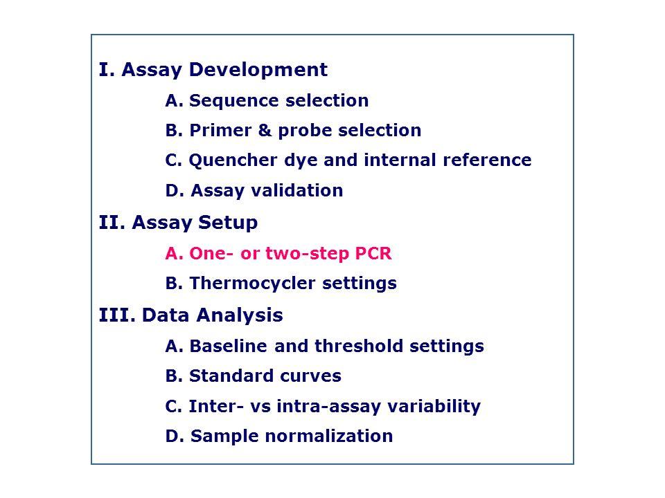 I. Assay Development II. Assay Setup III. Data Analysis