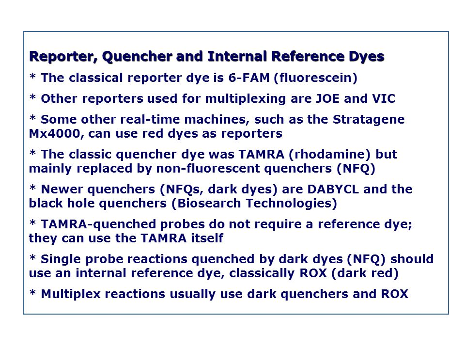 Reporter, Quencher and Internal Reference Dyes