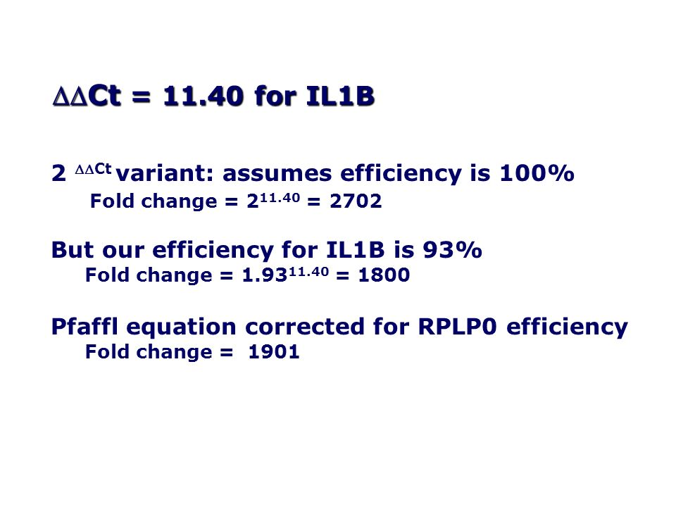 DDCt = 11.40 for IL1B 2 DDCt variant: assumes efficiency is 100%