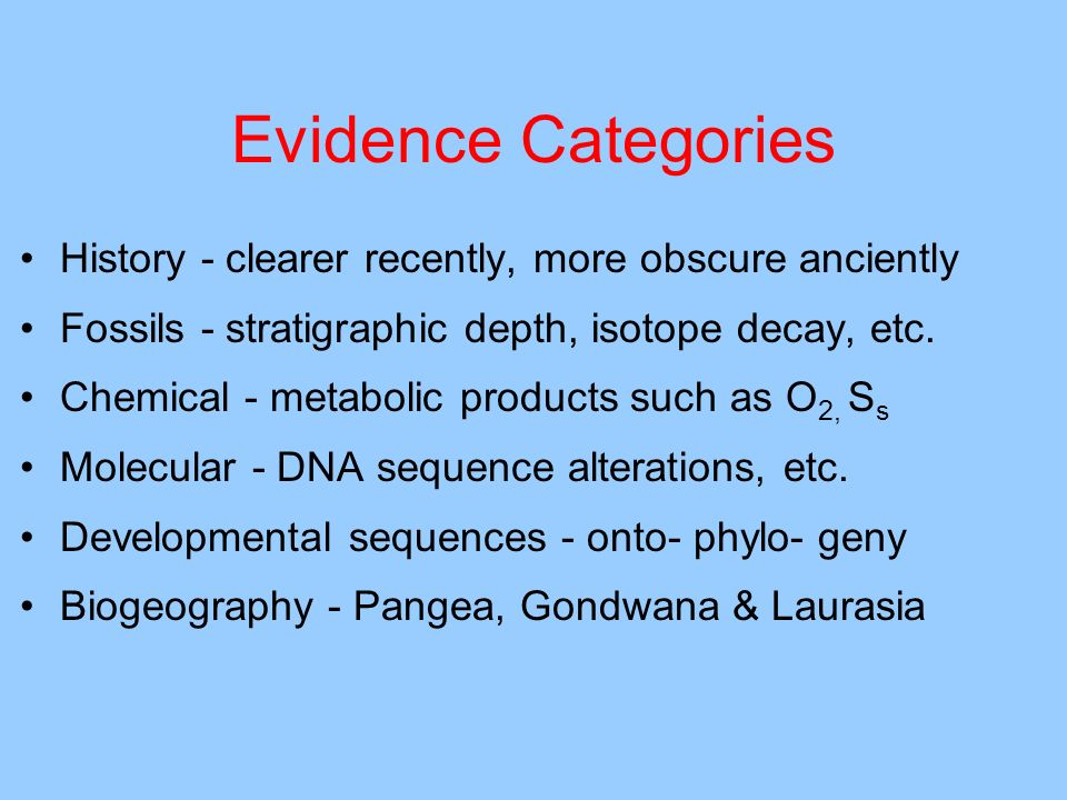 Evidence Categories History - clearer recently, more obscure anciently