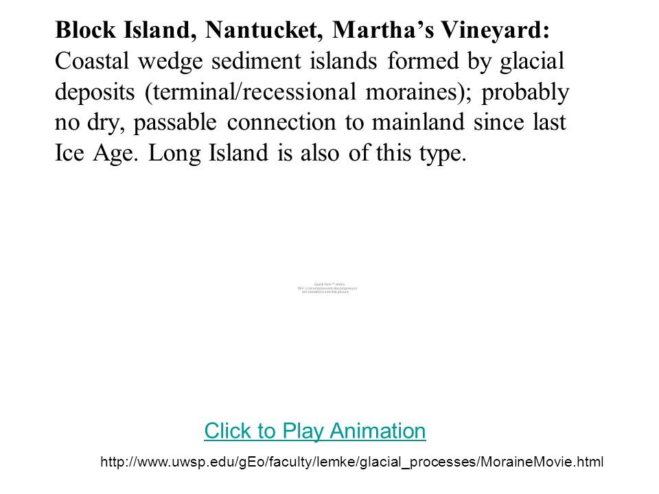 Block Island, Nantucket, Martha's Vineyard: Coastal wedge sediment islands formed by glacial deposits (terminal/recessional moraines); probably no dry, passable connection to mainland since last Ice Age. Long Island is also of this type.
