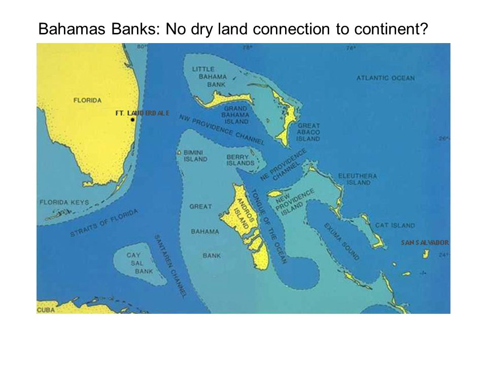 Bahamas Banks: No dry land connection to continent