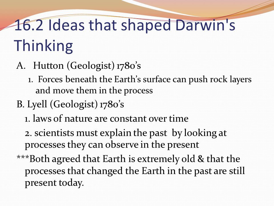 16.2 Ideas that shaped Darwin s Thinking