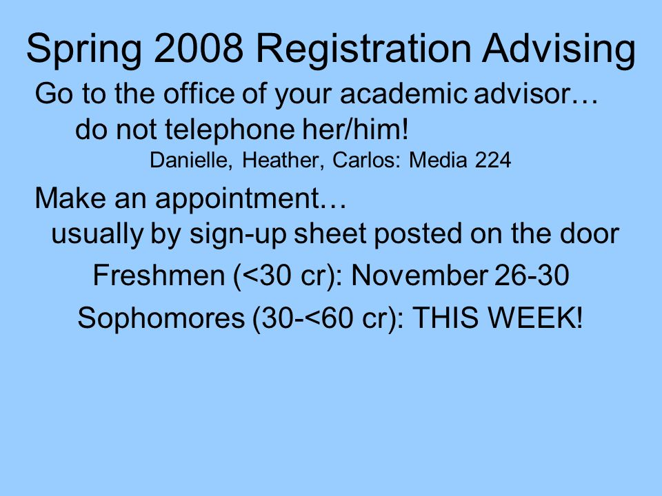 Spring 2008 Registration Advising
