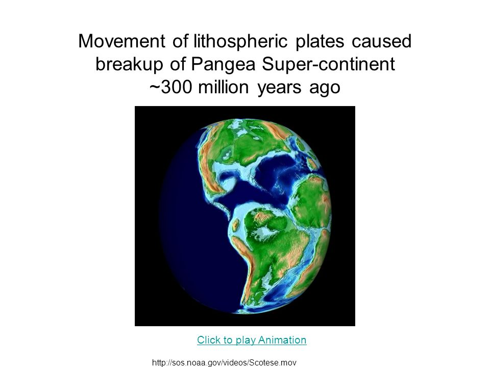 Movement of lithospheric plates caused breakup of Pangea Super-continent ~300 million years ago