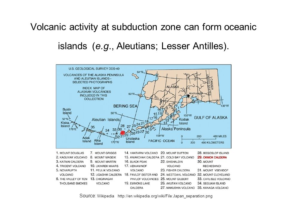 Volcanic activity at subduction zone can form oceanic islands (e. g