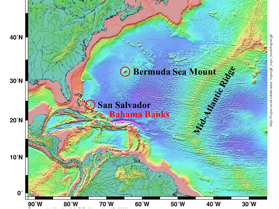 Bermuda Sea Mount Mid-Atlantic Ridge San Salvador Bahama Banks