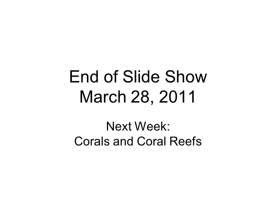 Next Week: Corals and Coral Reefs