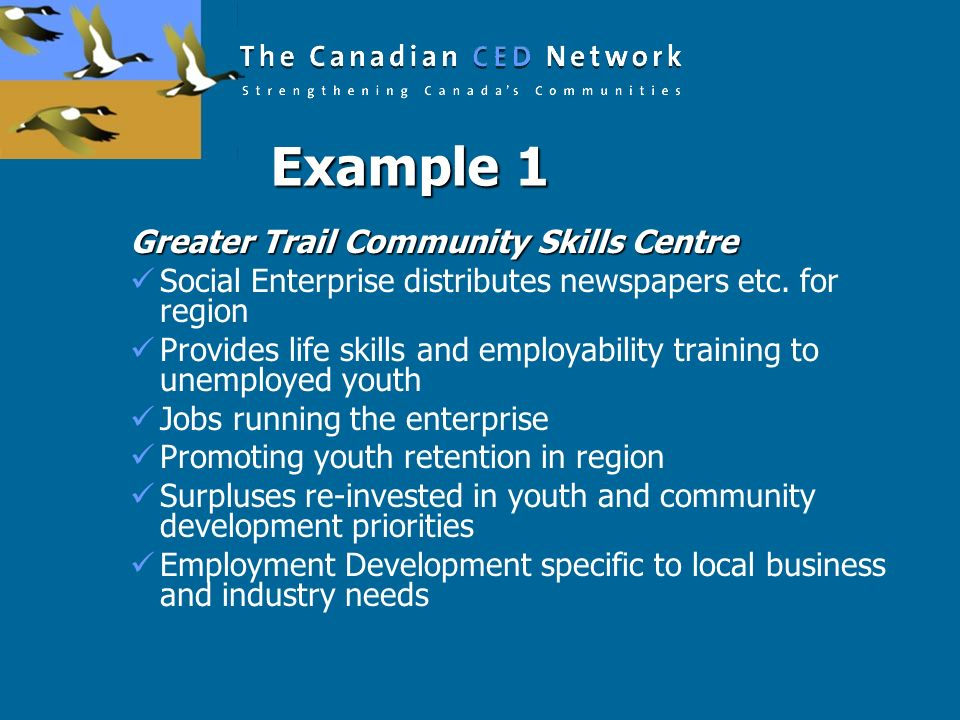 Example 1 Greater Trail Community Skills Centre