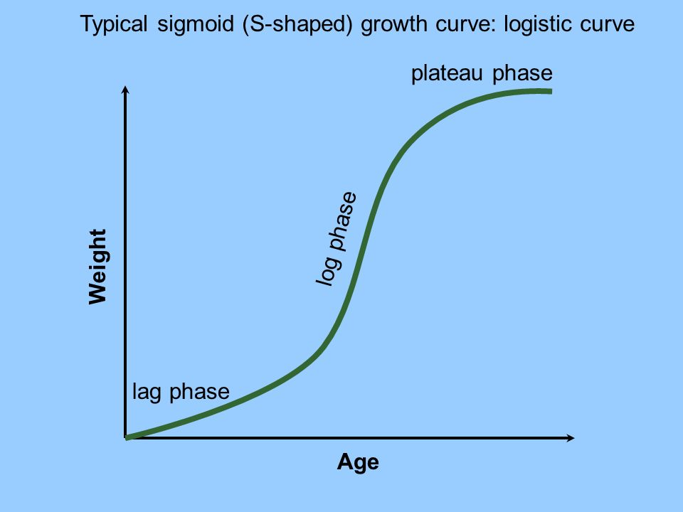 Typical sigmoid (S-shaped) growth curve: logistic curve