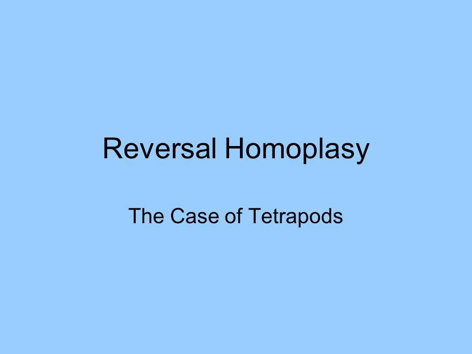 Reversal Homoplasy The Case of Tetrapods