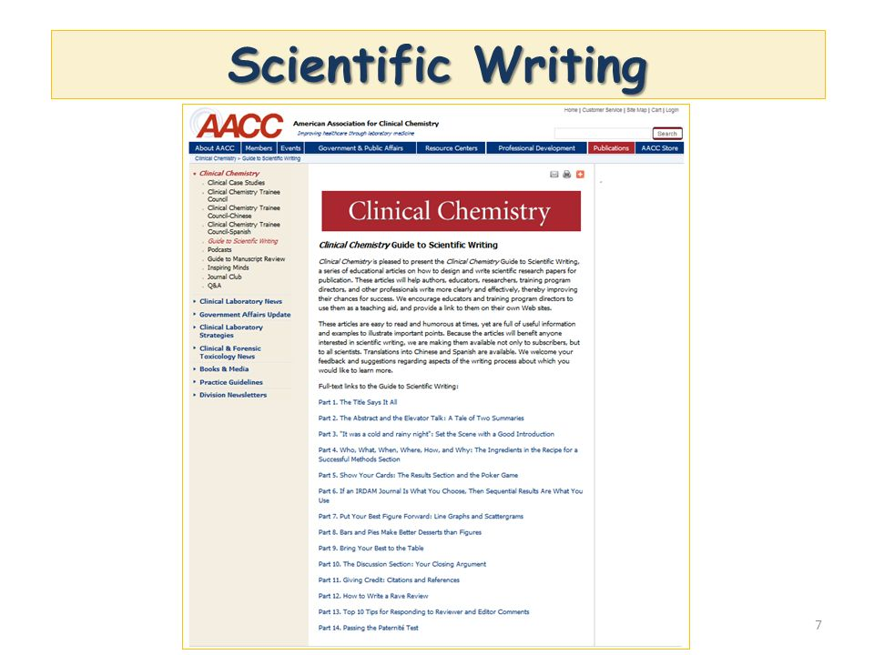 Scientific Writing Link: