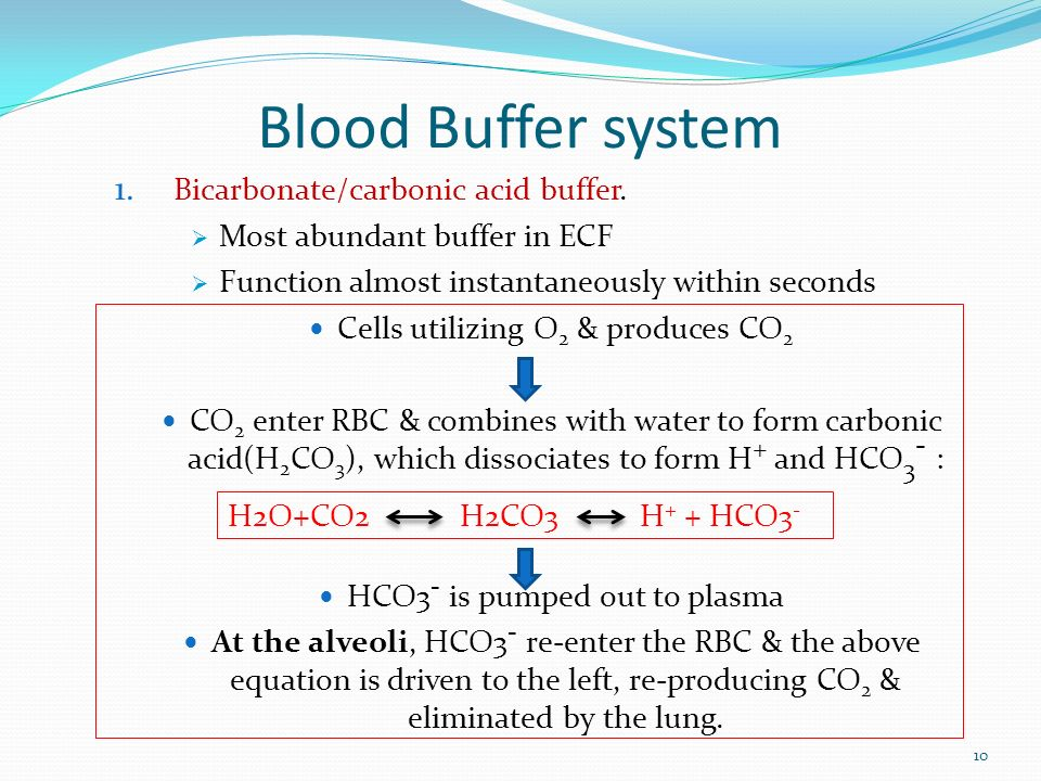 chemistry buffers bicarbonate buffers Bicarbonates buffers (buffering in blood)  apart from these natural buffers some  chemical buffers like calcium carbonate are also used to.