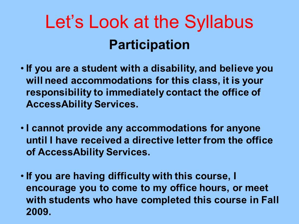 Let's Look at the Syllabus