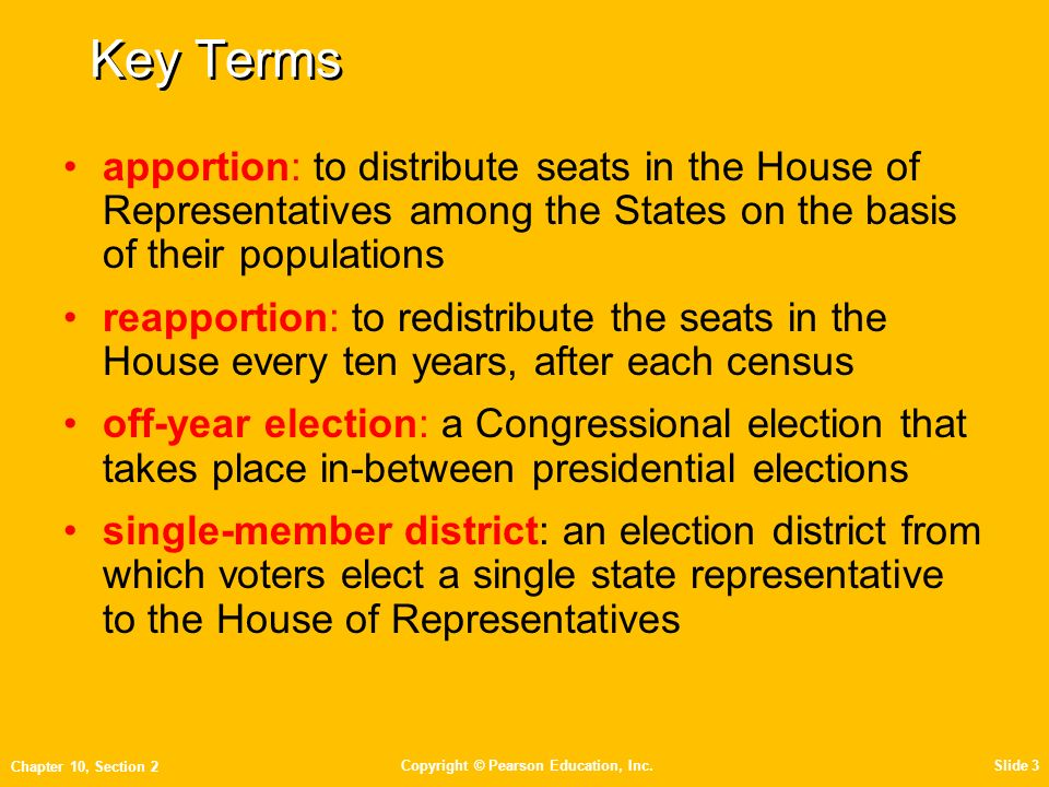 Key Terms Apportion: To Distribute Seats In The House Of Representatives  Among The States On