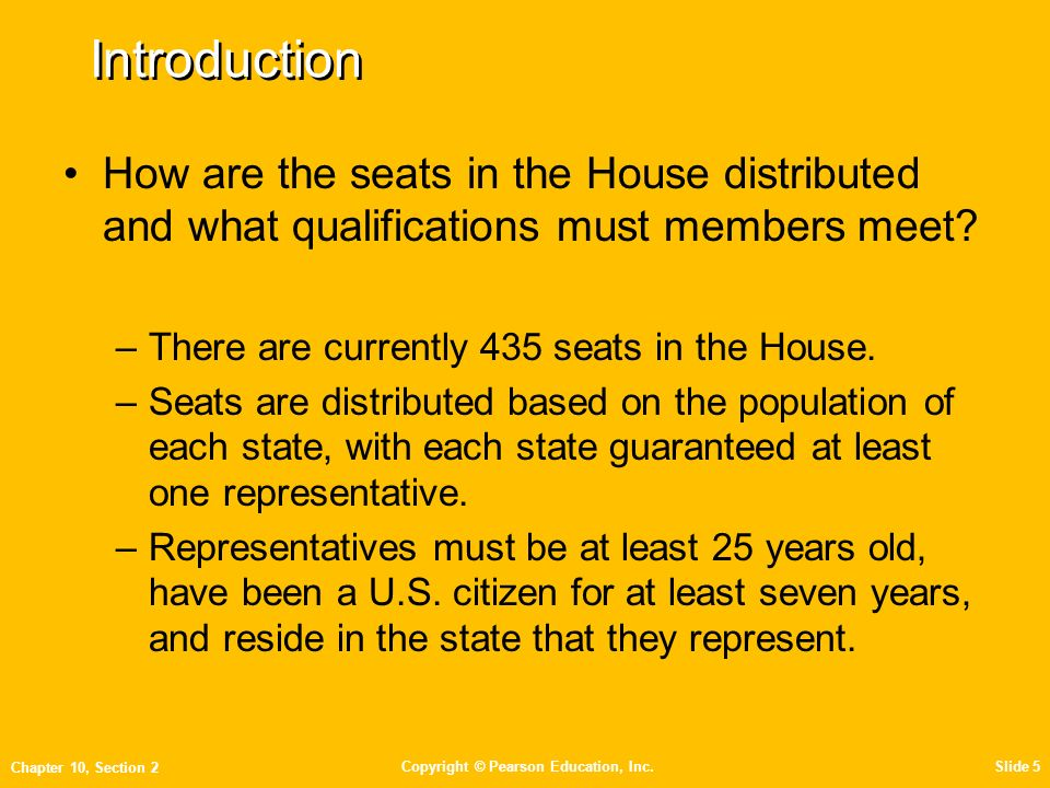 Introduction How Are The Seats In The House Distributed And What  Qualifications Must Members Meet There