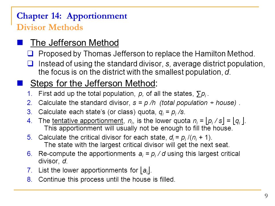 apportionment using the hamilton method How does hamilton's method work 4/23/2012 4 hamilton's method begin by finding the quotas  the apportionment using webster's method and hamilton's.