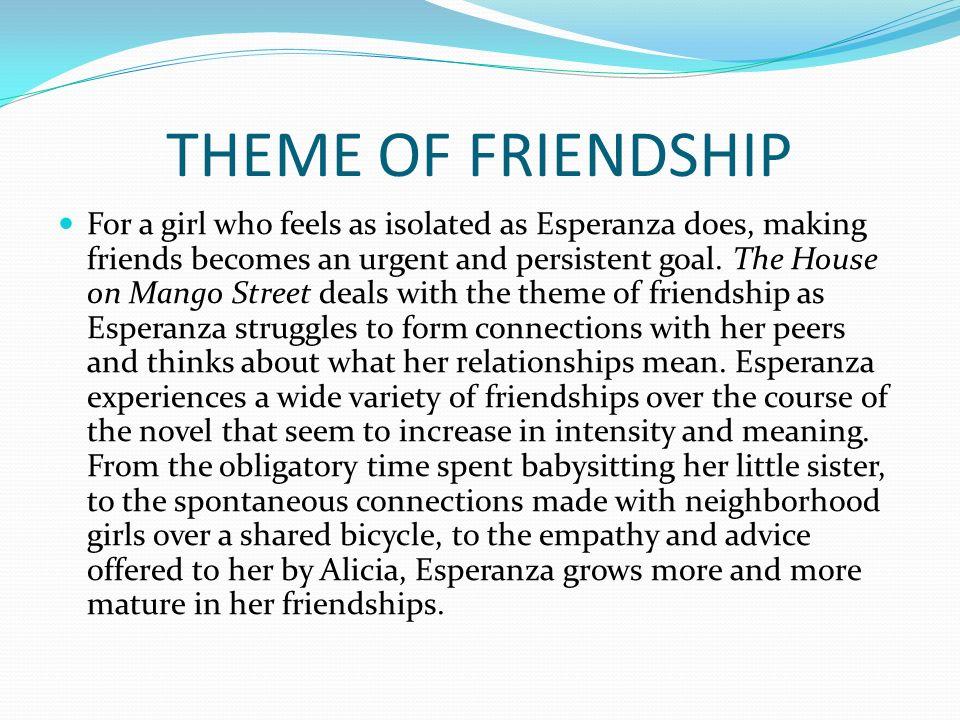 mango street and the struggles to The house on mango street and esperanza's relationship and in the house on mango street, esperanza's struggle to define more about the house on mango.