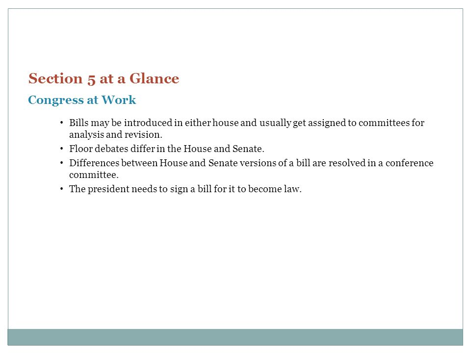 Section 5 at a Glance Congress at Work