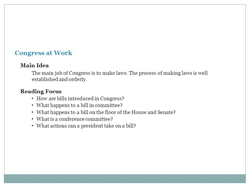 Congress at Work Main Idea Reading Focus