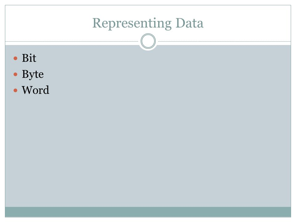 Representing Data Bit Byte Word