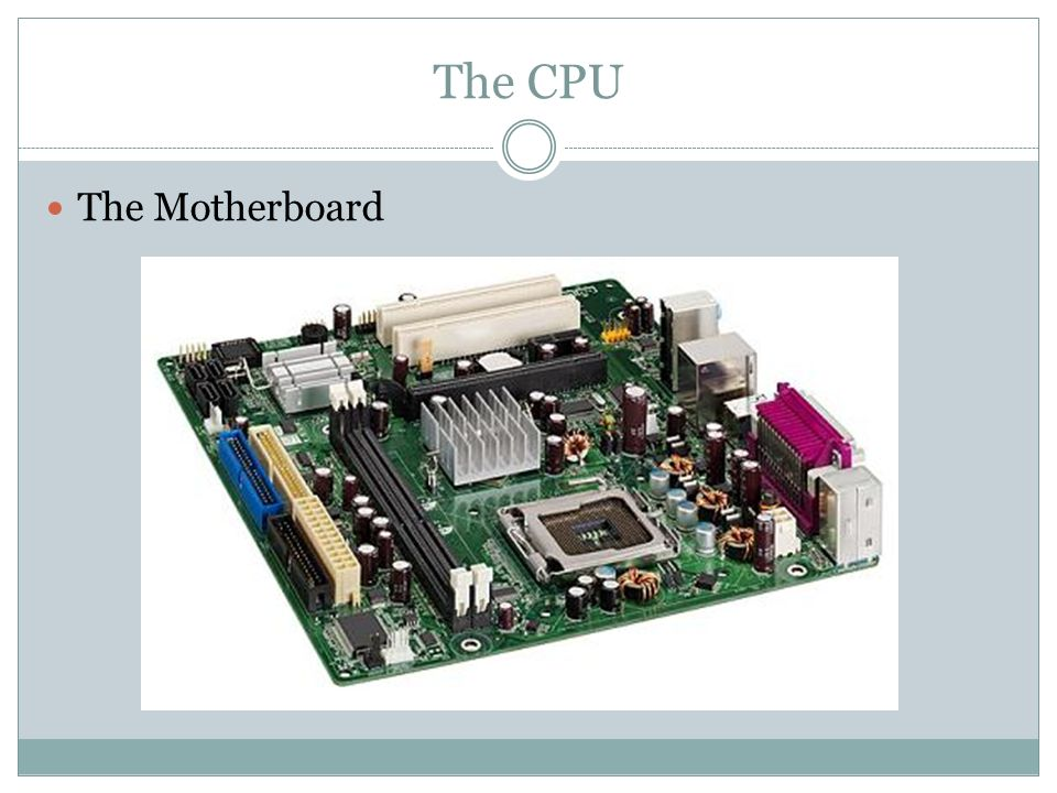The CPU The Motherboard