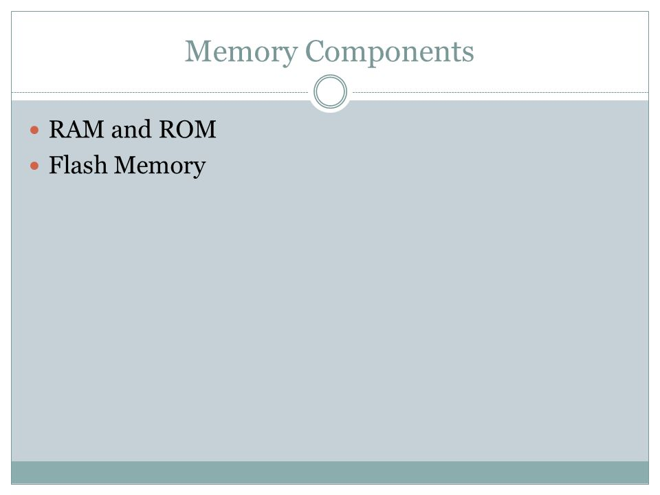 Memory Components RAM and ROM Flash Memory