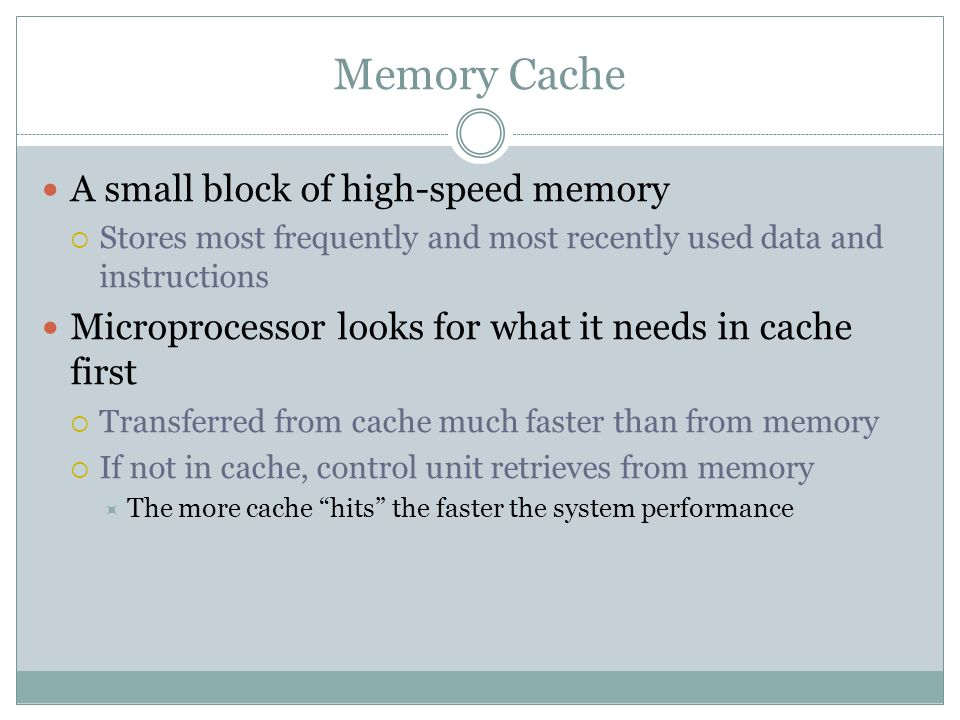Memory Cache A small block of high-speed memory