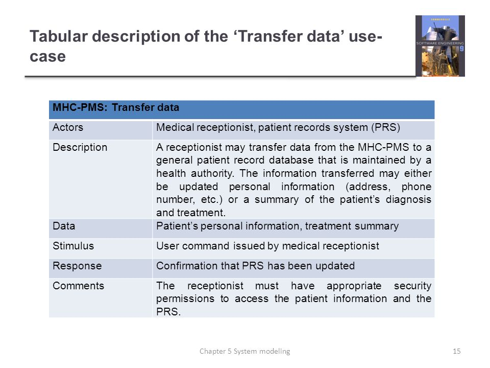 Tabular description of the 'Transfer data' use-case