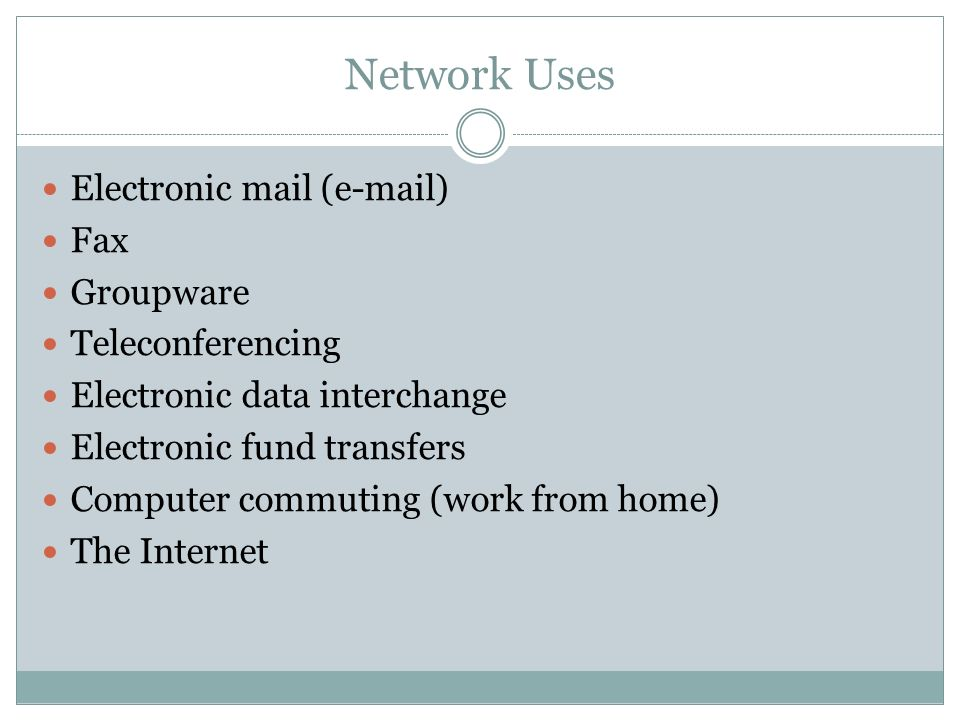 Network Uses Electronic mail (e-mail) Fax Groupware Teleconferencing