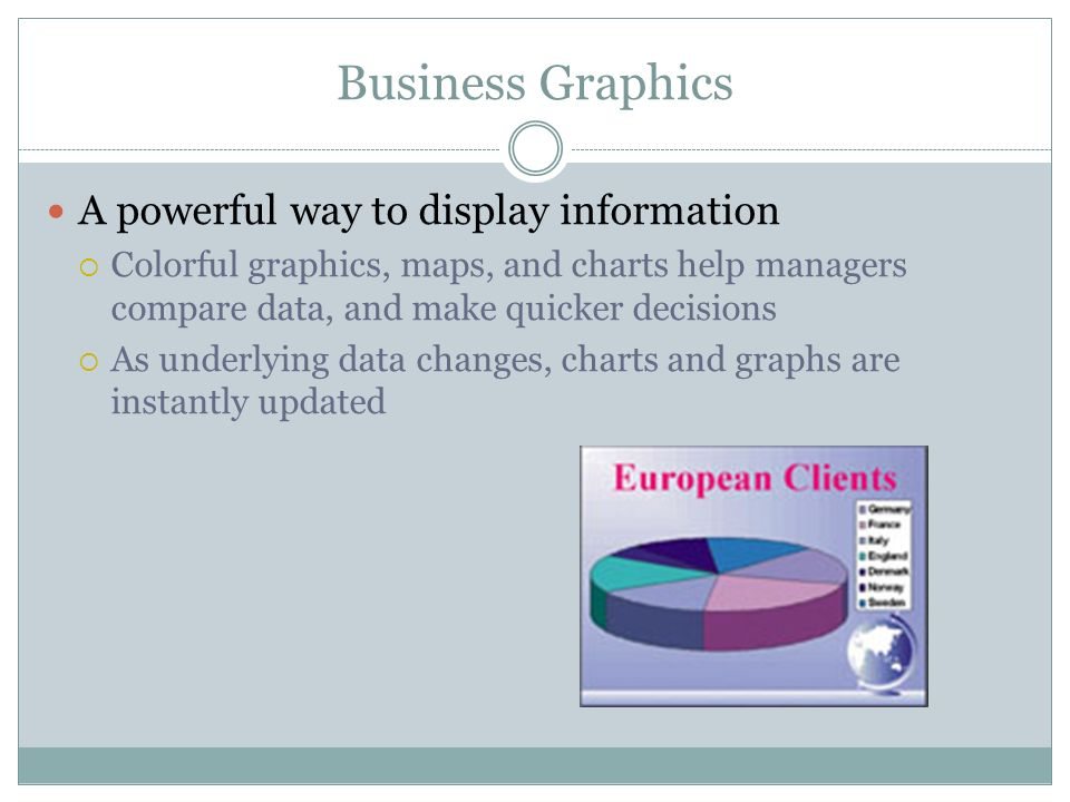Business Graphics A powerful way to display information