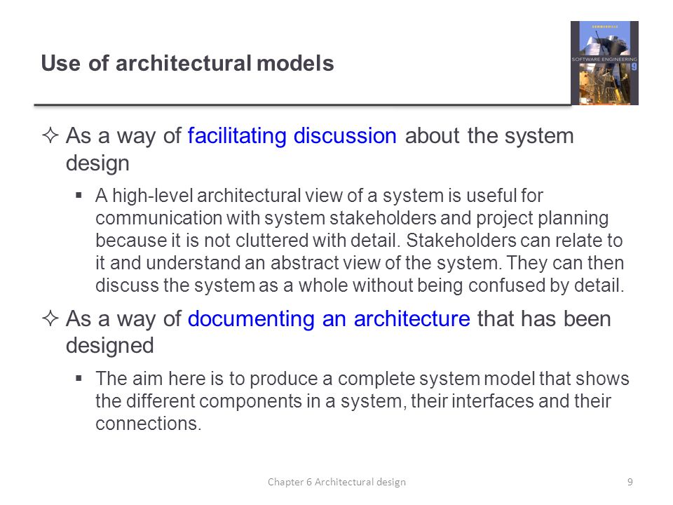 Use of architectural models