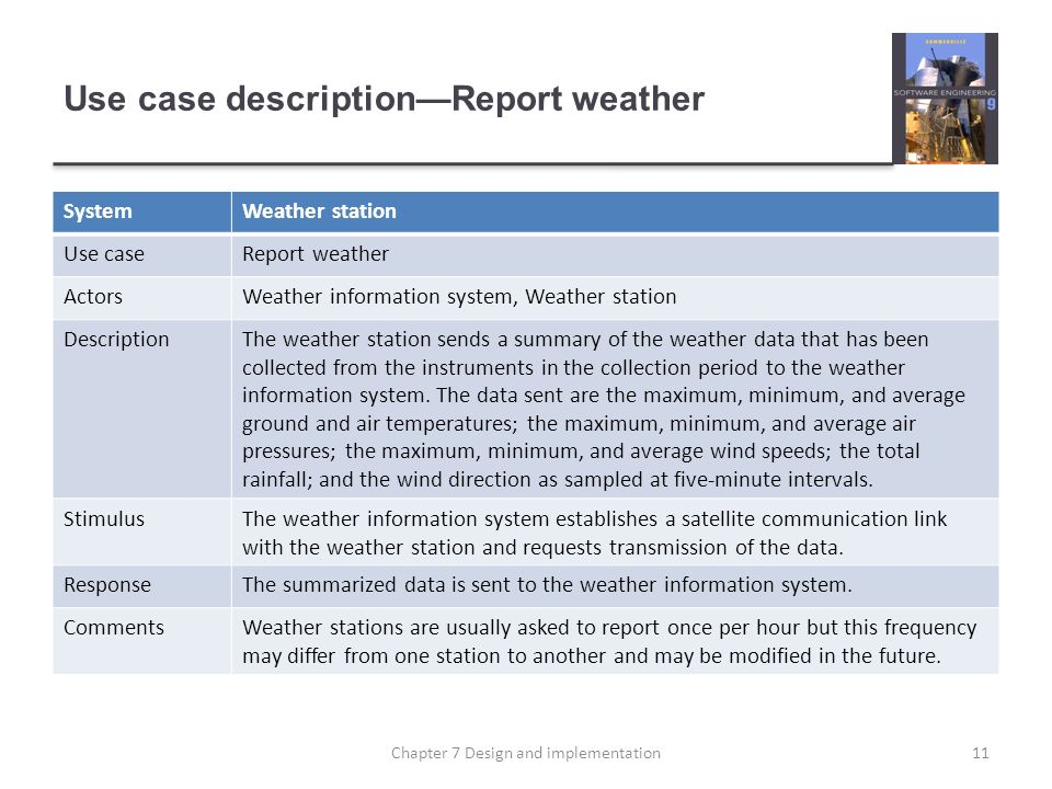Use case description—Report weather