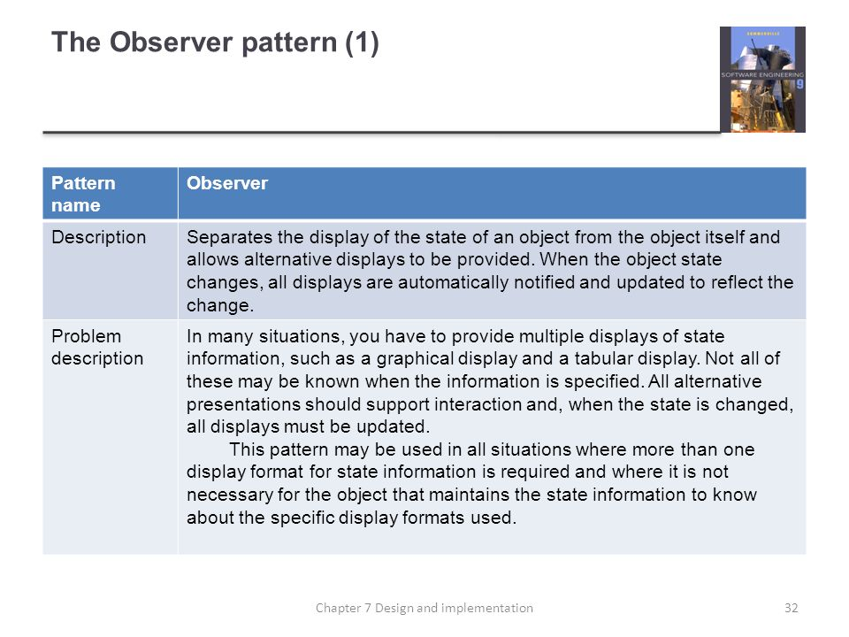 The Observer pattern (1)